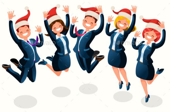 Office Christmas Party Isometric People Cartoon - Christmas Seasons/Holidays