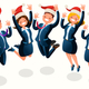 Office Christmas Party Isometric People Cartoon - GraphicRiver Item for Sale