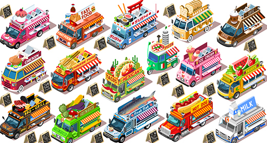 Street Food Truck 3D Vector Images