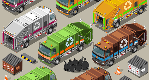 Trash Can Set 3D Isometric Vector Mega Collection