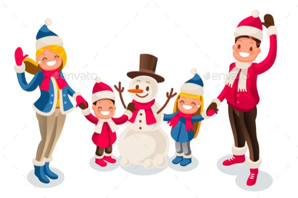 Winter Fun Isometric People Cartoon Family - Christmas Seasons/Holidays
