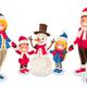Winter Fun Isometric People Cartoon Family
