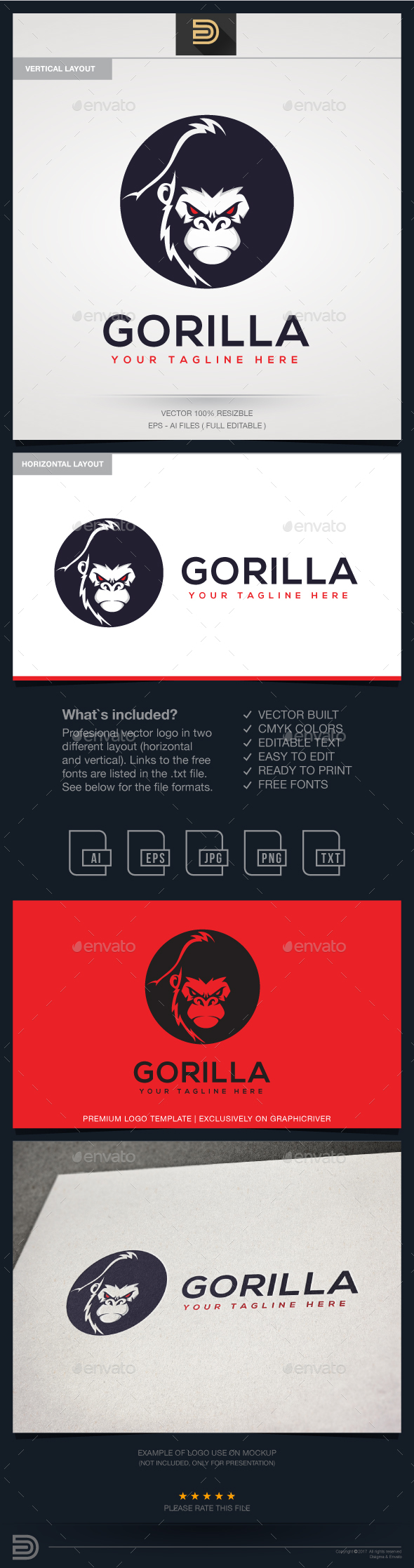 Gorilla Logo Template - Animals Logo Templates
