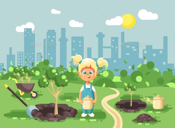 Vector Illustration Cartoon Characters of Child - Landscapes Nature