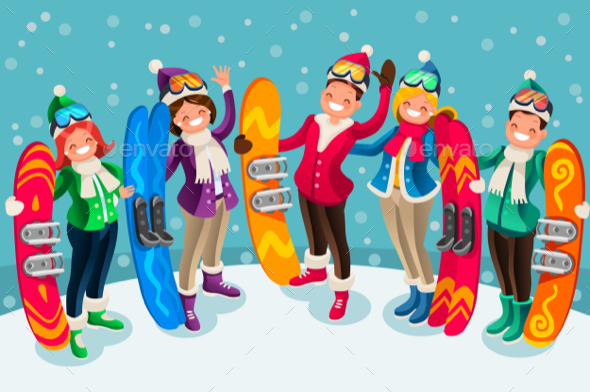 Winter Sports Isometric People Cartoon Characters - Sports/Activity Conceptual
