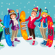 Winter Sports Isometric People Cartoon Characters