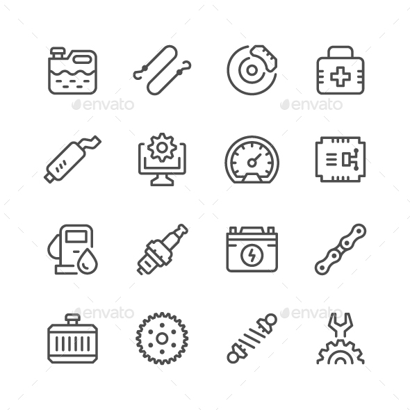 GraphicRiver Set of Car Related Line Icons 20428921