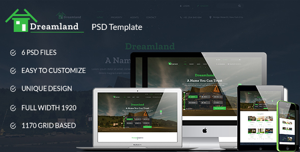 Dreamland - Real Estate PSD Template