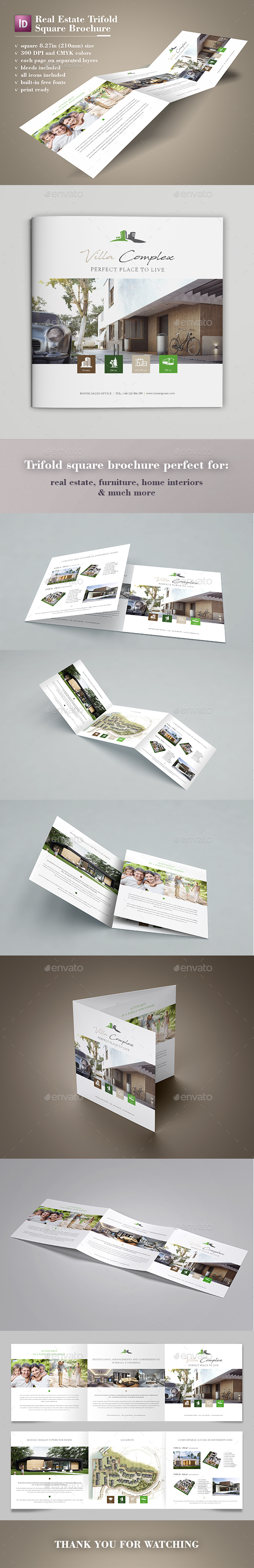Real Estate Square Trifold Brochure - Catalogs Brochures
