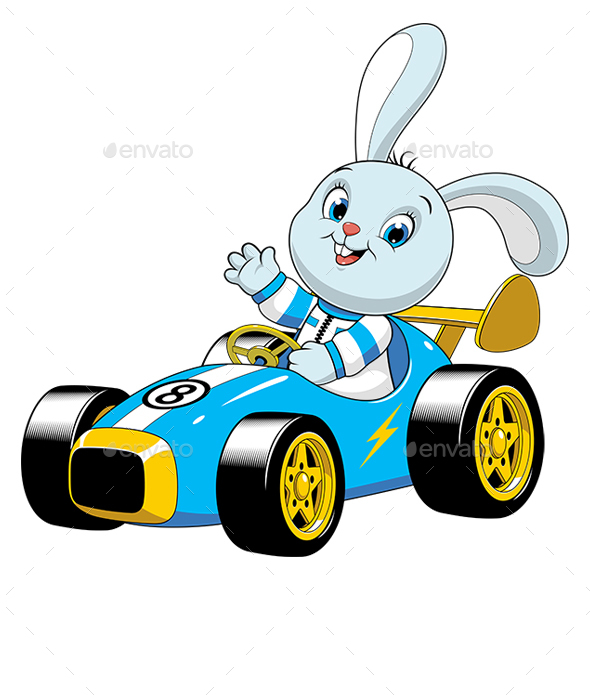 Bunny in a Sport Car - Animals Characters