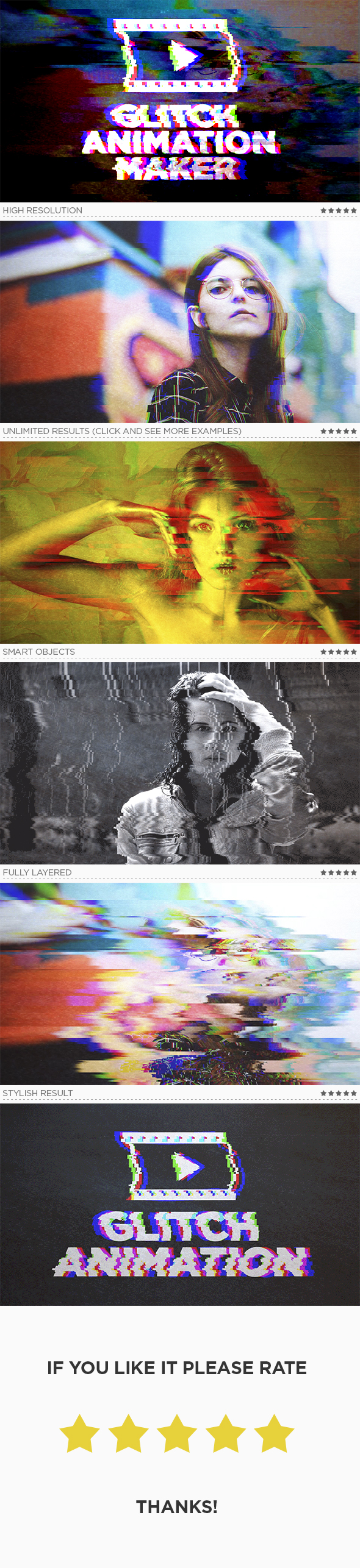 Glitch Animation Maker - Photo Effects Actions