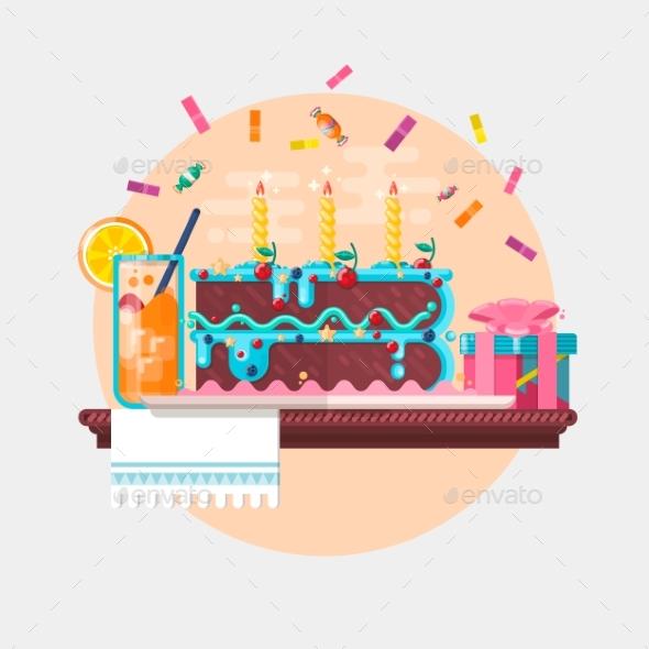 Holiday Birthday Background with Cake Present - Birthdays Seasons/Holidays