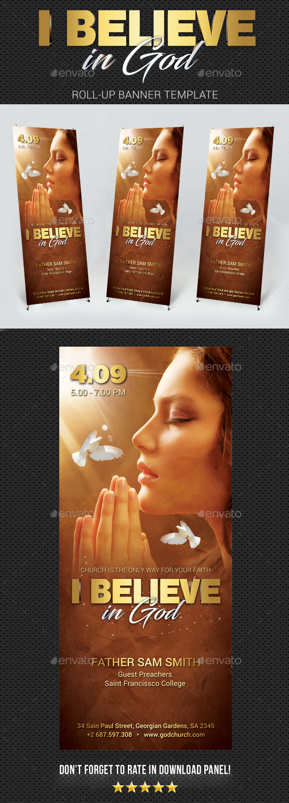 Believe In God Banner Template - Signage Print Templates