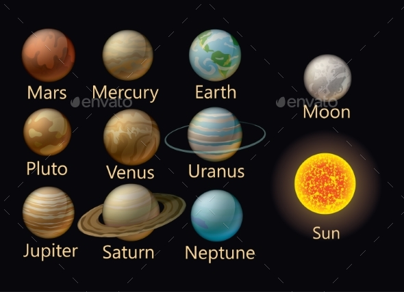 Collection of Vector Planets of the Solar System - Organic Objects Objects