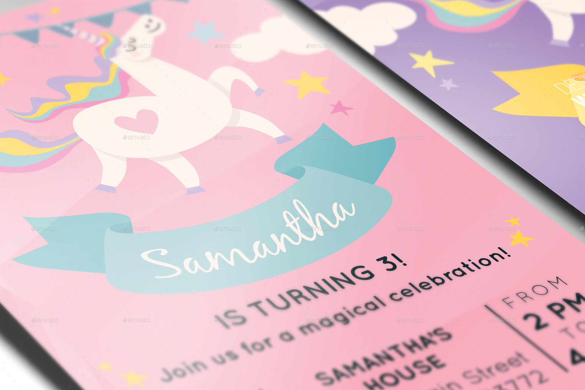 Unicorn birthday invitation by knickknacks graphicriver image setflyer poster mockup vol 2 01g stopboris Image collections