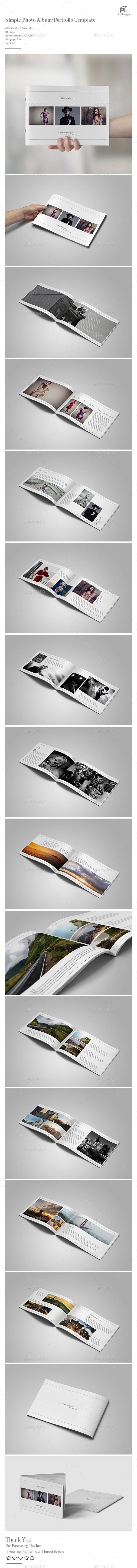 Simple Photo Album Template (Landscape) - Photo Albums Print Templates