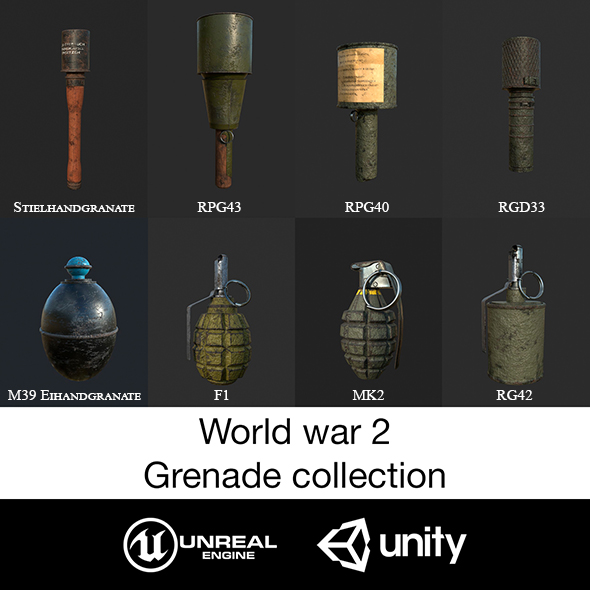 World war 2. Grenade collection. - 3DOcean Item for Sale