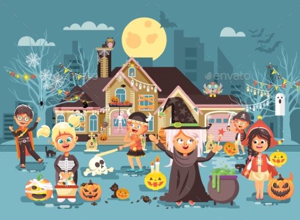 Vector Illustration Cartoon Characters Children - Halloween Seasons/Holidays