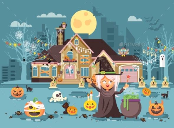 Illustration Cartoon Character on Halloween - Halloween Seasons/Holidays