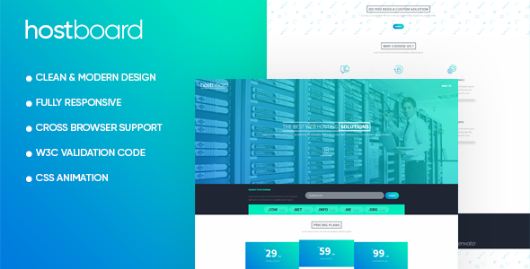 ThemeForest HostBoard Responsive One Page Hosting Template 19626889