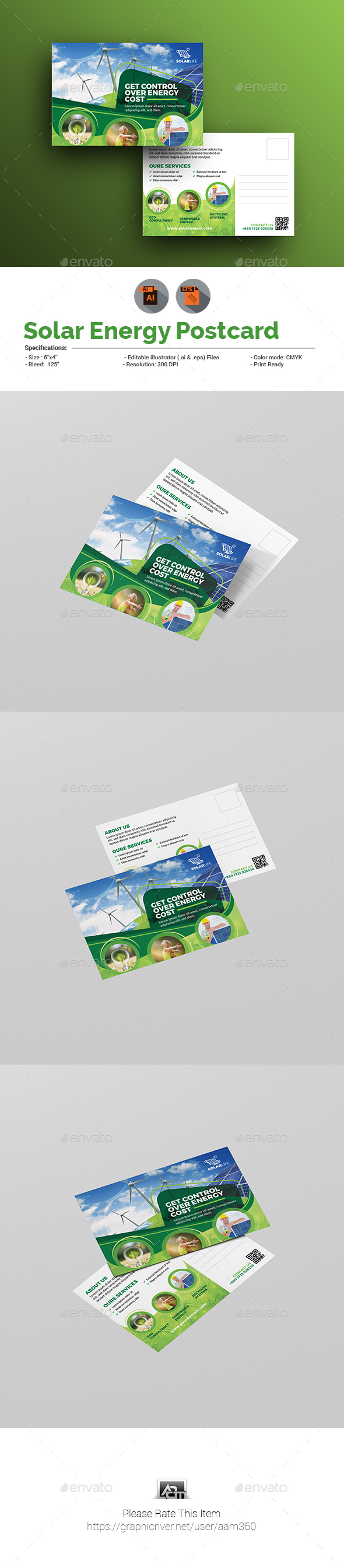 Solar Energy Postcard Template - Cards & Invites Print Templates