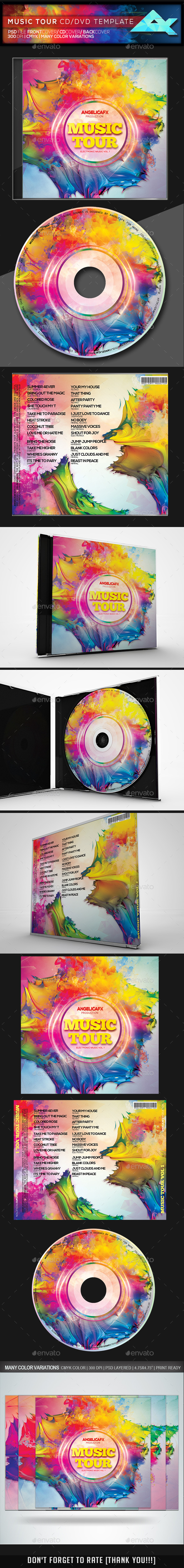 Music Tour CD/DVD Template - CD & DVD Artwork Print Templates