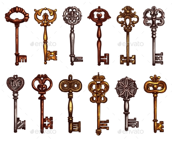 GraphicRiver Vector Isolated Icons Sketch of Vintage Keys 20431737