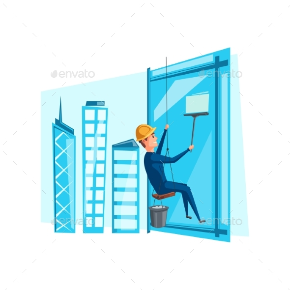 Vector Man Cleaning Washing Windows on Building - People Characters
