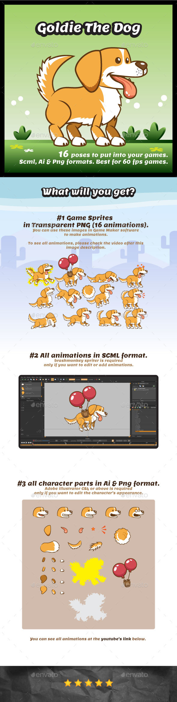 Goldie the Dog Game Character Sprites - Sprites Game Assets