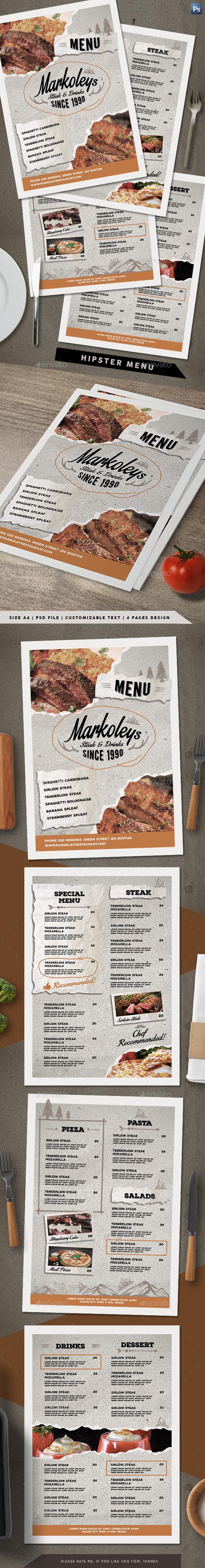 Hipster Menu - Food Menus Print Templates