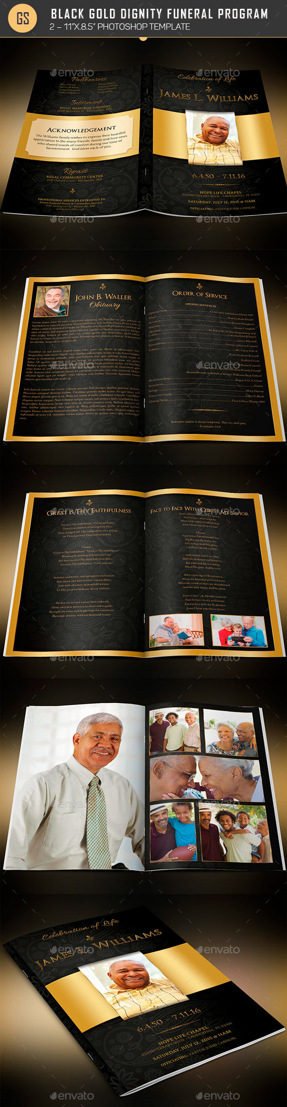 Black Gold Dignity Funeral Program Template - Informational Brochures