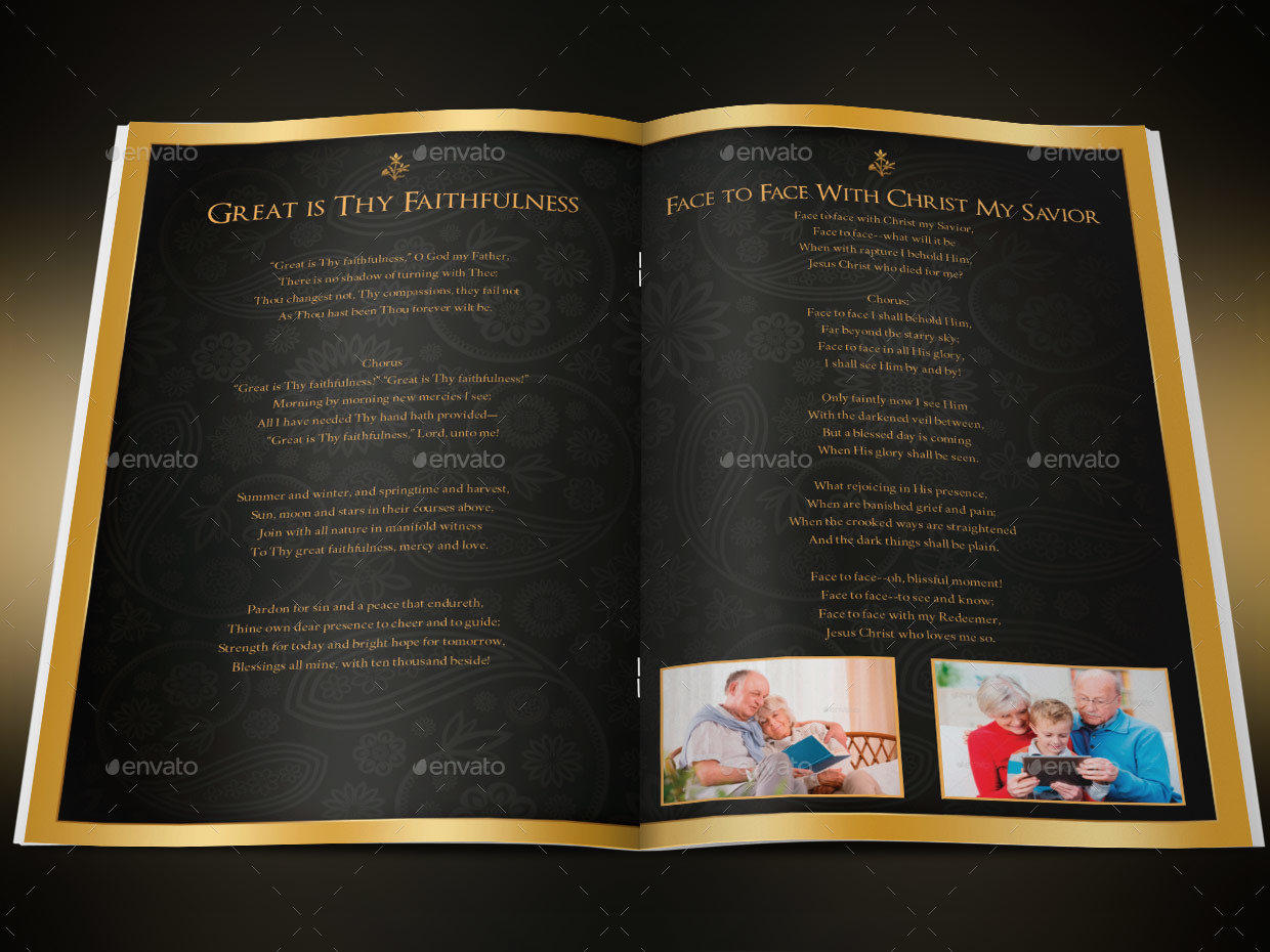 black gold dignity funeral program template by godserv2