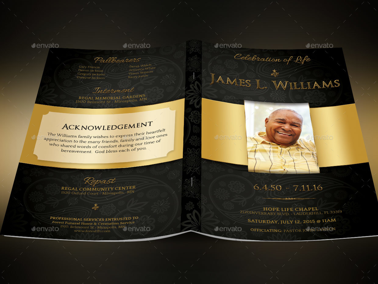 Black gold dignity funeral program template by godserv2 graphicriver image setblack gold dignity funeral program pub preview 5g pronofoot35fo Image collections