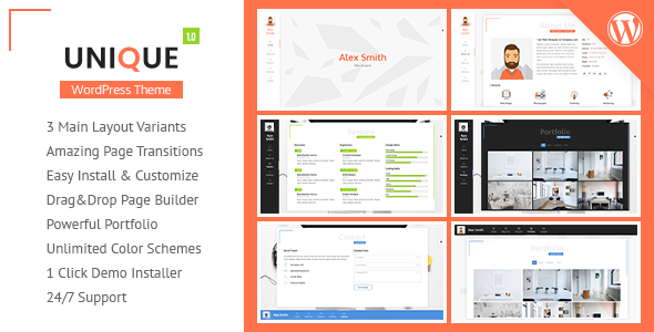 UNIQUE - vCard/Resume & Portfolio WordPress Theme - Portfolio Creative