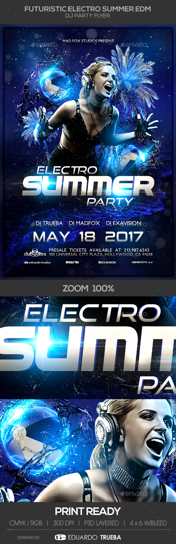Futuristic Electro Summer EDM Dj Party Flyer - Clubs & Parties Events