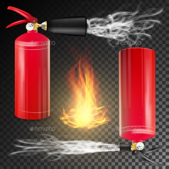 Red Fire Extinguisher Vector. Fire Flame Sign And - Objects Vectors