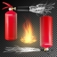 Red Fire Extinguisher Vector. Fire Flame Sign And