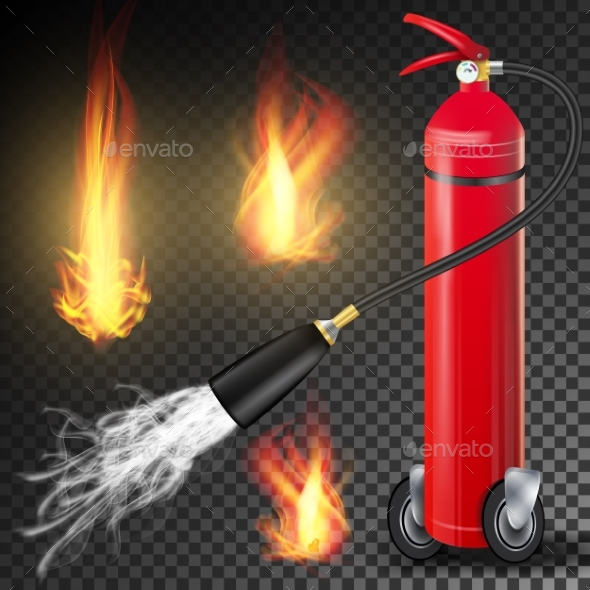 Fire Extinguisher Vector. Burning Fire Flame And - Objects Vectors