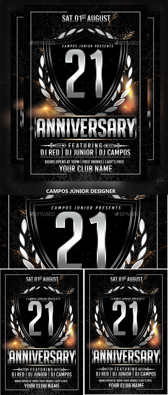 21 Anniversary - Flyer Template - Clubs & Parties Events