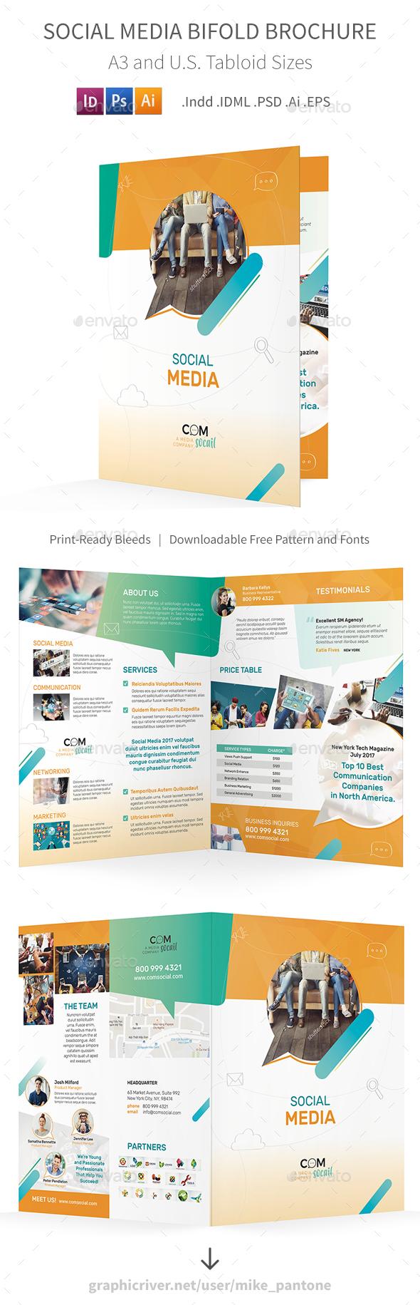 Social Media Bifold / Halffold Brochure - Informational Brochures