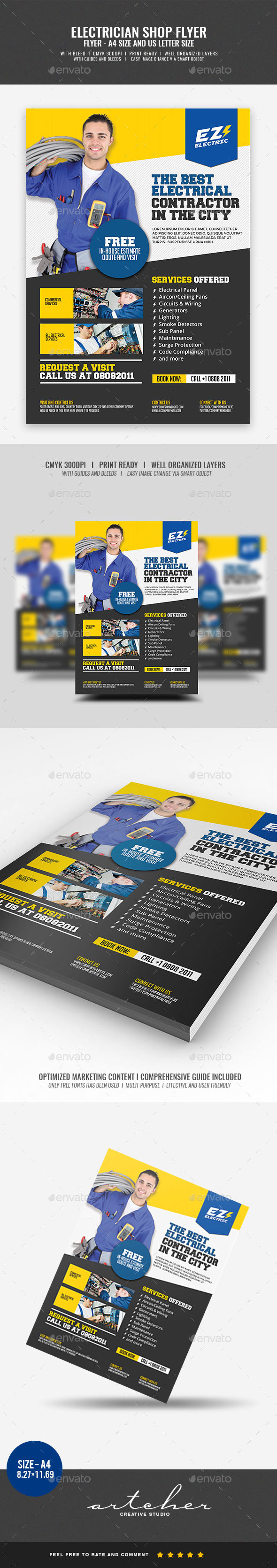GraphicRiver Electrical Electrician Services Flyer 20432224