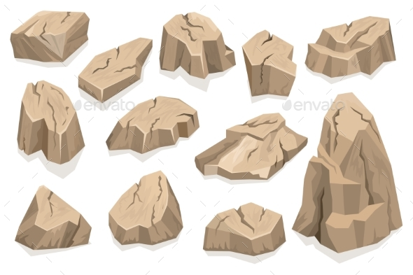 Rock Stone Set Cartoon - Objects Vectors