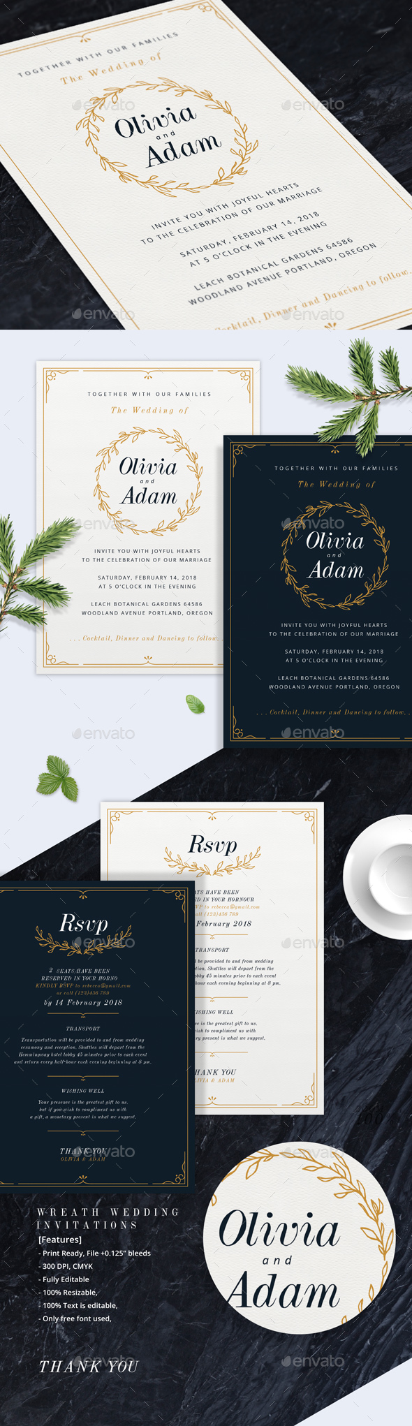GraphicRiver Wreath Wedding Invitations 20423312