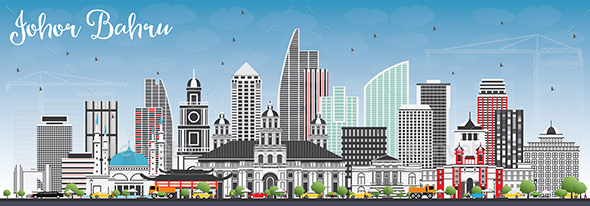 GraphicRiver Johor Bahru Malaysia Skyline with Gray Buildings and Blue Sky 20432358
