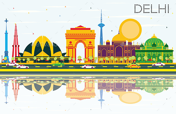 Delhi India Skyline with Color Buildings, Blue Sky and Reflections. - Buildings Objects