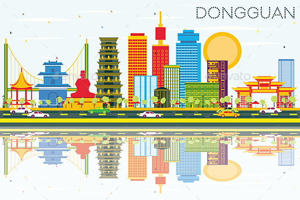 Dongguan Skyline with Color Buildings, Blue Sky and Reflections. - Buildings Objects