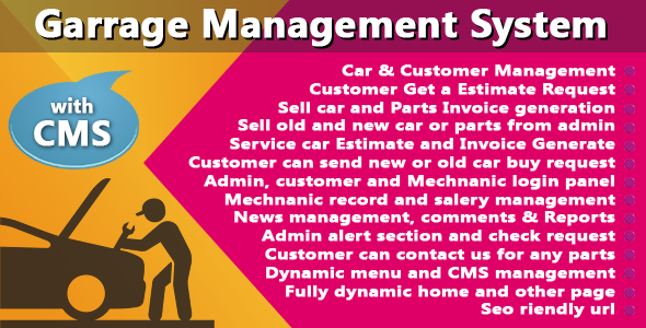 Garage Management System With CMS - CodeCanyon Item for Sale