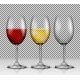 Set Transparent Vector Wine Glasses Empty