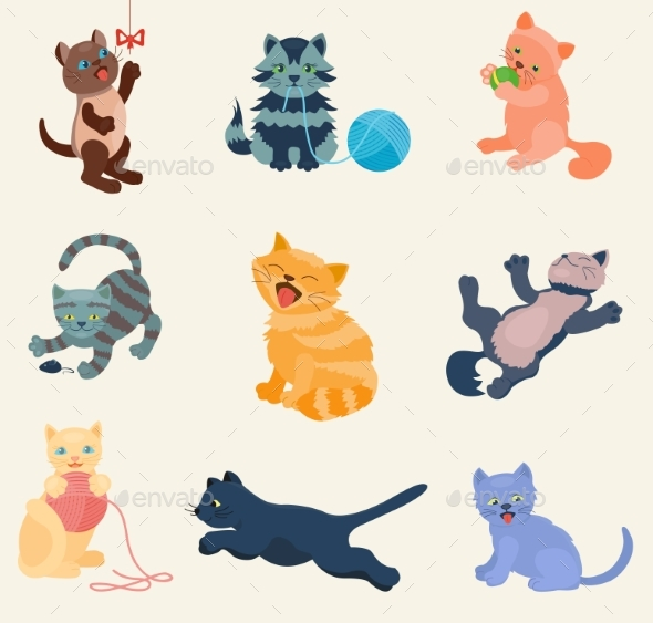 Cats Vector Set Collection Different Cats Kitty - Animals Characters