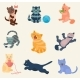 Cats Vector Set Collection Different Cats Kitty - GraphicRiver Item for Sale
